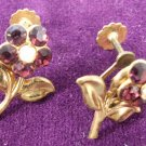Vintage Flower Screw Post Earrings