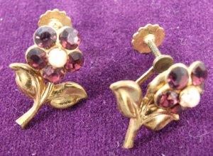 Vintage Flower Screw Post Earrings