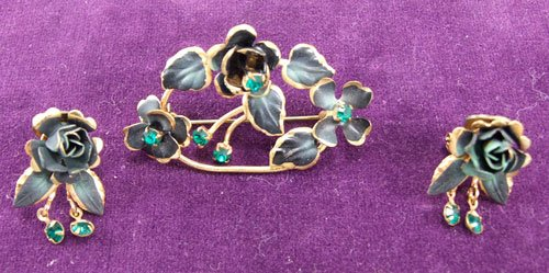 Flower Brooch and Earring Set