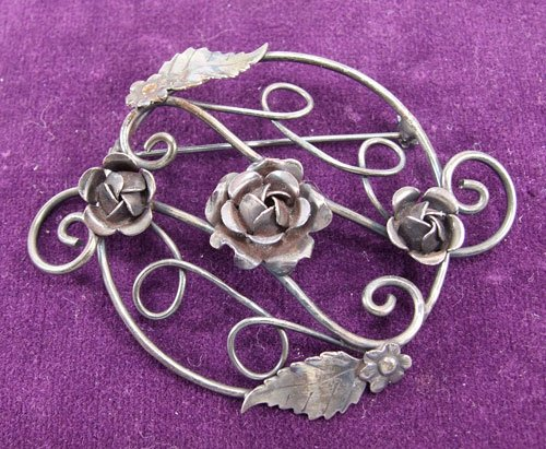 Vintage Costume Jewelry Rose Brooch Pin Antique