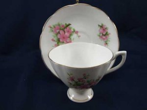 Crownford Pink White Flower Cup and Saucer