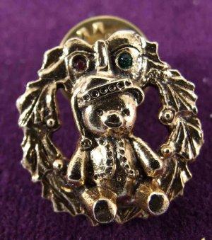 Teddy Bear Wreath Pin