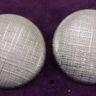Vintage Costume Jewelry Large Silver Disk Clip-on Earrings