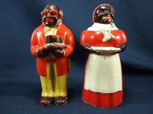 Aunt Jemima and Uncle Mose Salt Pepper Shakers  F&F Molding