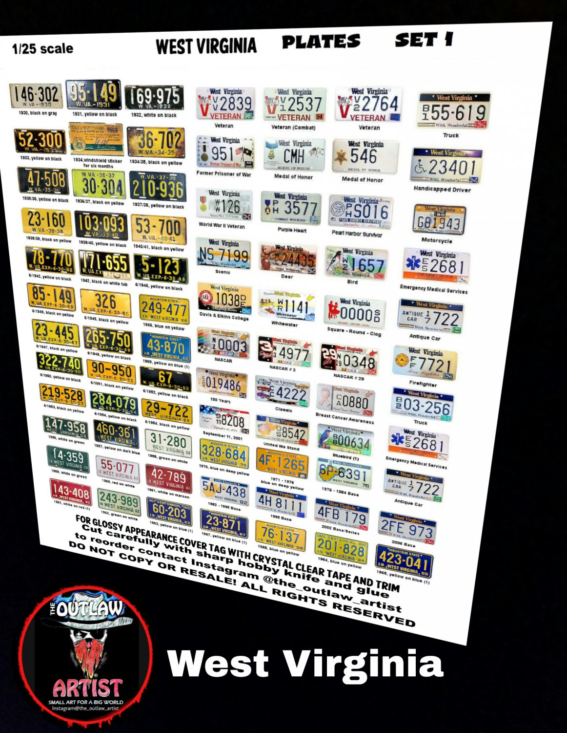 WEST VIRGINIA License Plate Set 1/24 1/25 Scale