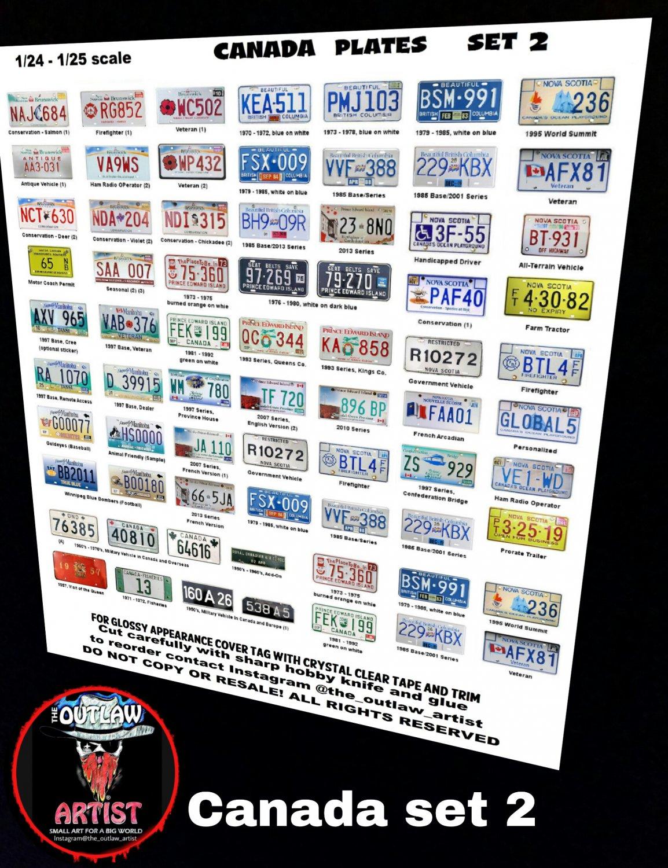 CANADA License Plate Set #2 1/24 1/25 Scale