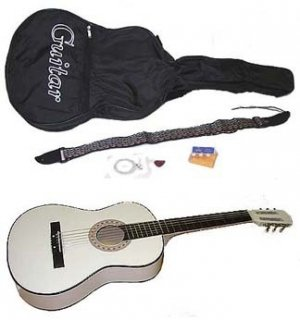"38"" White Acoustic Guitar With Accessories (dsp)"