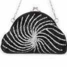 Luxurious Handmade Kiss-Lock Pouch Clutch--Black  (lib)