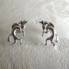 New Sterling Silver Post / Stud Earrings, Hopi Kokopelli Flute Dancer