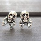 New Sterling Silver Post / Stud Earrings, Skull and Crossbones
