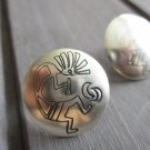 "New Sterling Silver Post / Stud Earrings, KOKOPELLI Flute Dancer Engraved, 3/4"" Diameter"