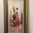 """Vintage Framed Art Print """"Girl and Flowers"""" Very Large 22 X 38"""