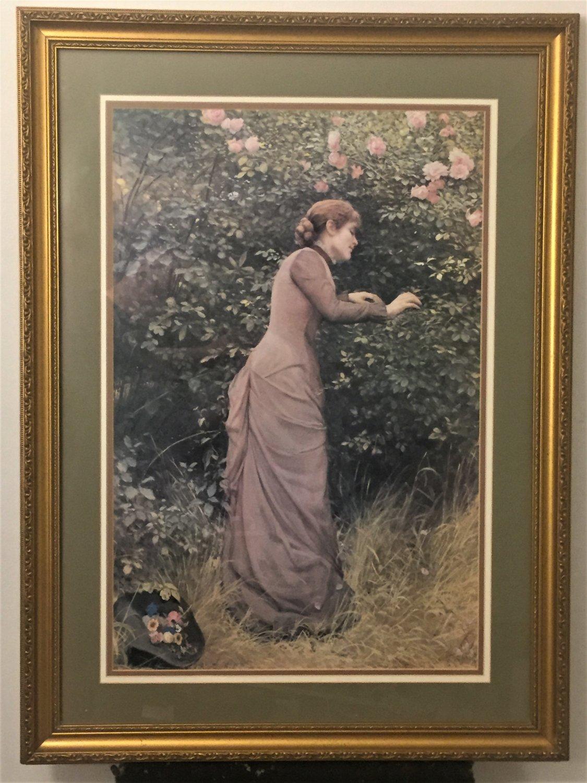 "Vintage Framed Art Print E.K.Johnson ""THE BIRDS NEST"" Very Large 28 X 38"