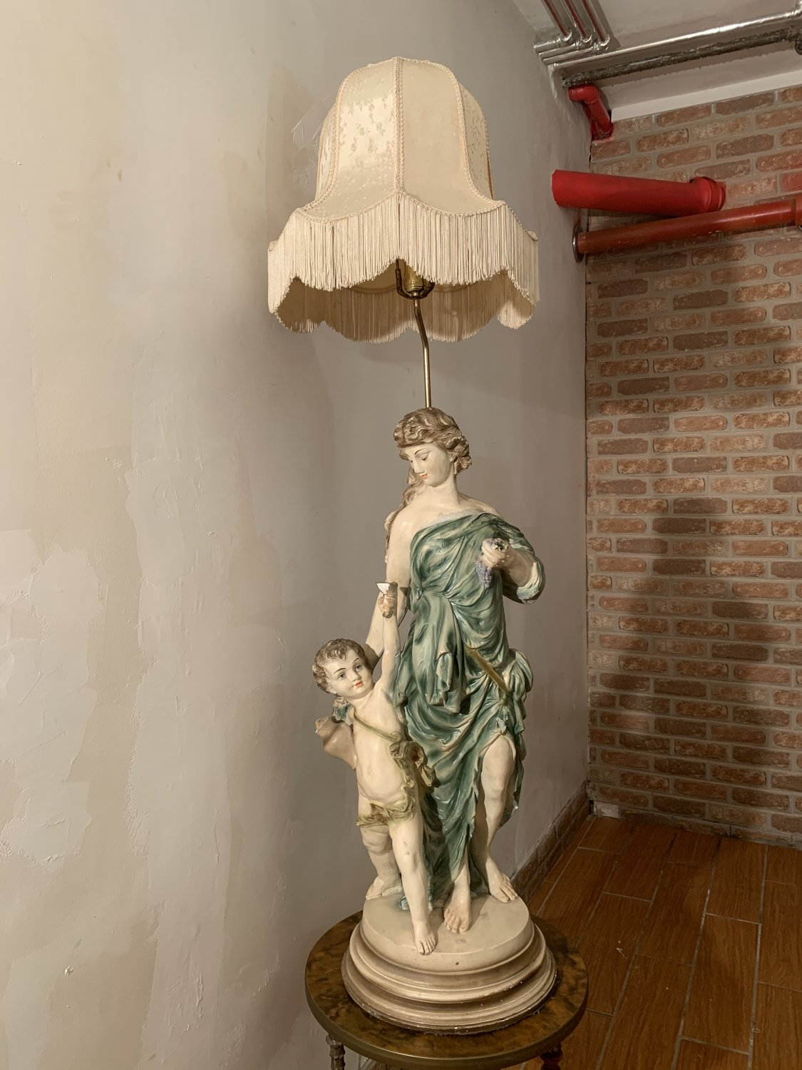 """Vintage Beautiful 54"""" tall Torchiere Floor/Table Lamp Woman with son"""