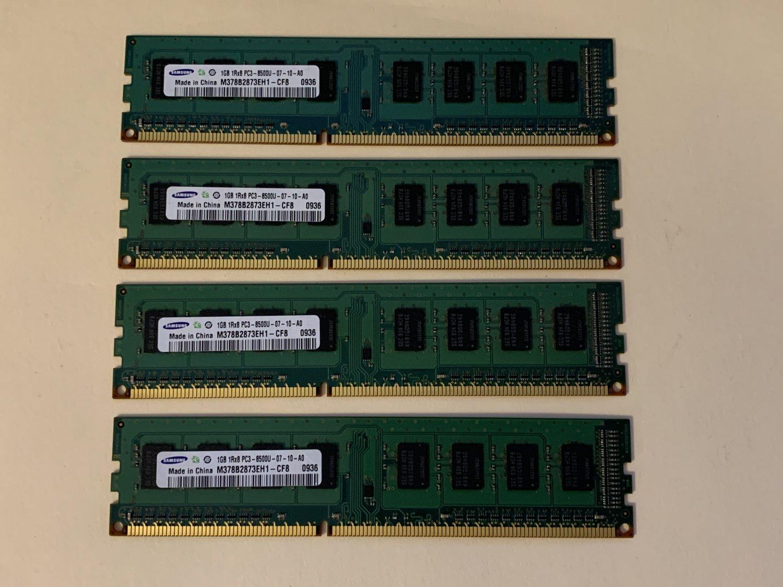 M378B2873EH1-CF8 Samsung 4GB (4X1GB) PC3-8500 DDR3-1066MHz Unbuffered