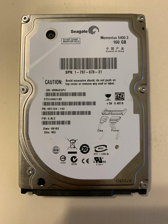 "Seagate Momentus 5400.3 ST9160821AS 160GB 5400 RPM 8MB Cache SATA 1.5Gb/s 2.5"""