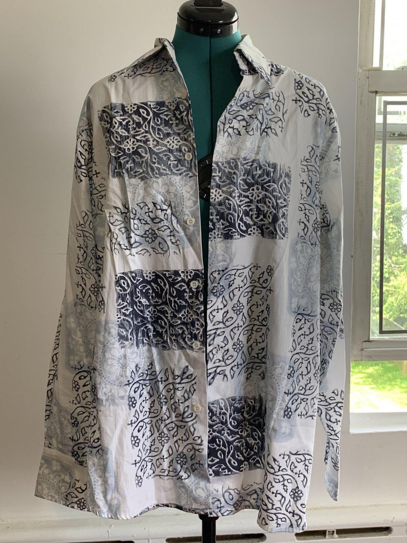 Men's J. Ferrar Sportshirt Size L Color Blue Print MSPR 38.00