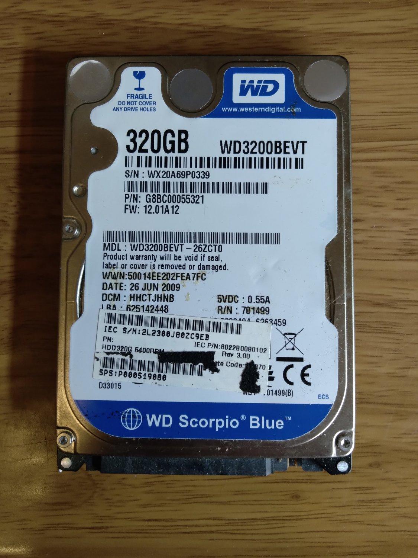 "WD Scorpio Blue WD3200BEVT 320GB 5400 RPM 8MB Cache SATA 3.0Gb 2.5"" Notebook HDD"