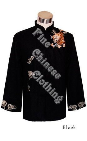 "Men's Mandarin Jacket - ""Flying Dragon"" Embroideries"