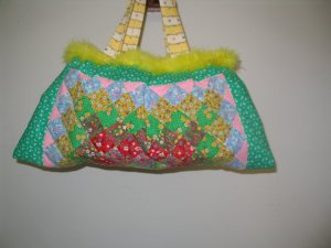 Purse Victorian Style Quilted  Yellow Boa Feather