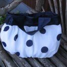 Purse Polkadot White and Navy Blue Free Shipping