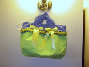 Victrorian Style Purse Lime Green with Blue Polka Dot Free Shipping