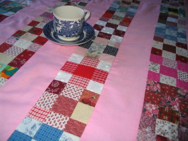 Table Cloth with four napkins or lap quilt Hand quilted Pink