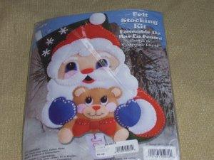 Santa And Bear Felt Stocking