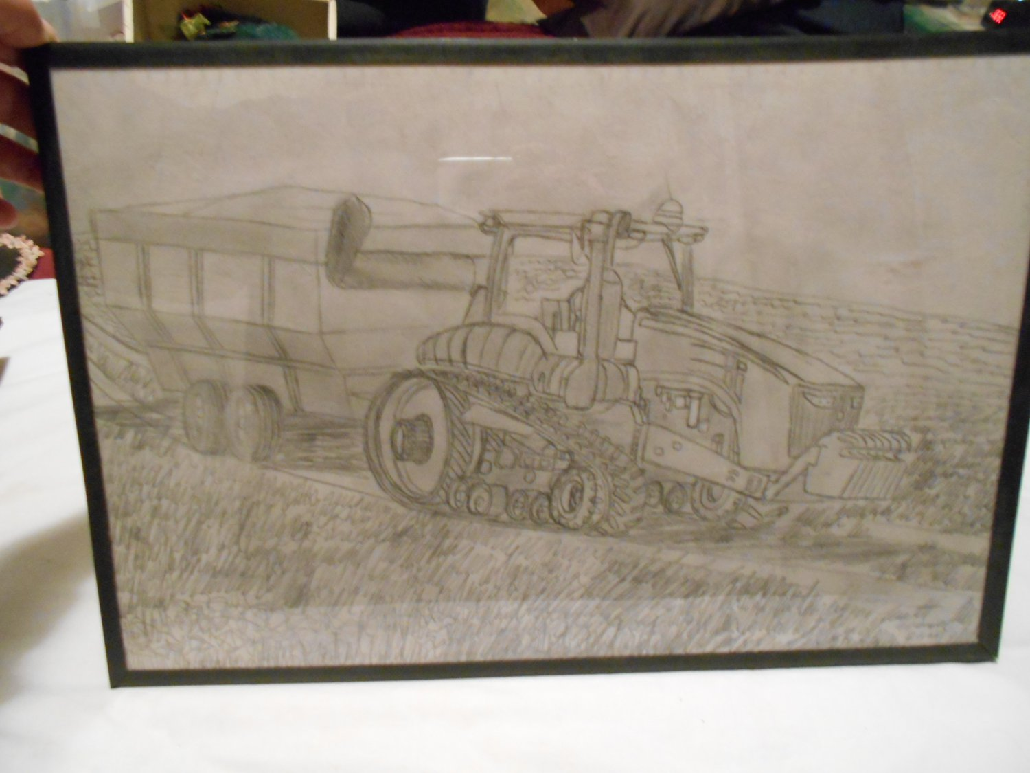 Original Pencil Hand Drawing Tractor and Spreader in Field by Local WV Artist Matt Wenzel