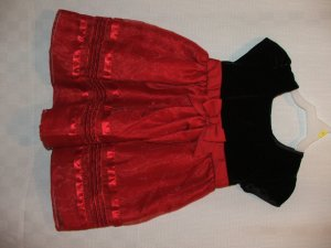 Black Red Dress Red bow Short Sleeve 3T NWOT