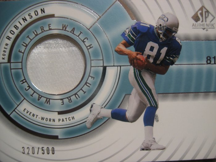 2001 SP Authentic Future Watch Koren Robinson Event -Worn Patch Rookie