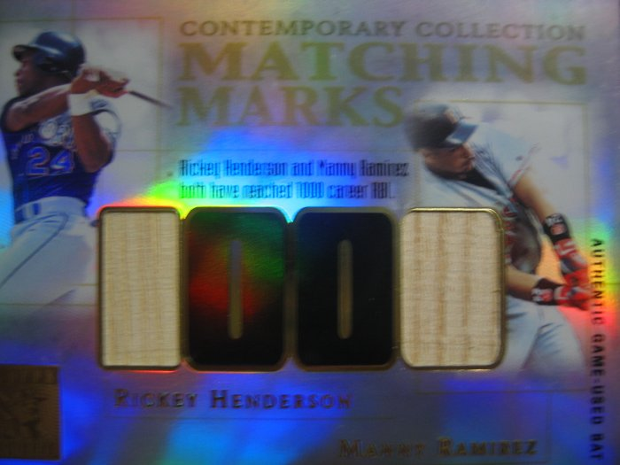 2003 Topps Tribute Matching Mark Ricky Henderson & Manny Ramirez Game Used Bat Card