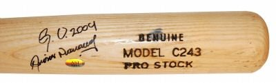 DIONER NAVARRO SIGNED GAME USED ROOKIE BAT (ASI)