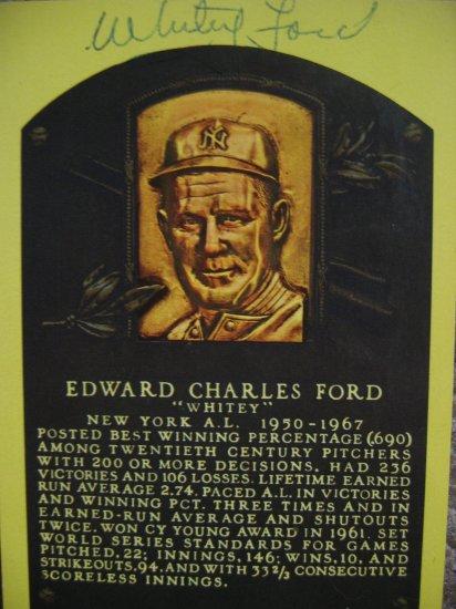Whitey Ford Signed Hall of Fame Postcard (JSA)