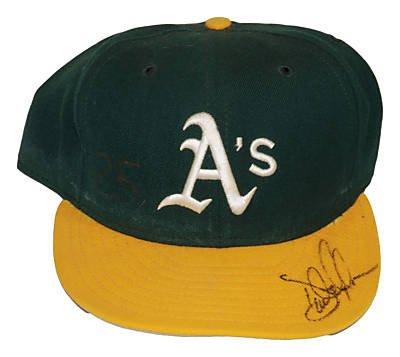 DAVE MAGADAN Signed GAME USED HAT (ASI)