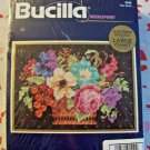 Vintage BUCILLA needlepoint Floral Basket #4766 PERSIAN WOOL YARN new & sealed
