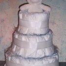 Classic ALL WHITE Baby Diaper Cake