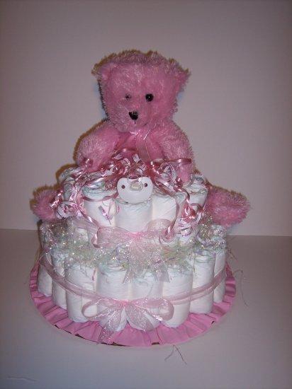 2 Tier Girl Bear Baby Shower Diaper Cake