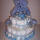 2 Tier Boy Bear Baby Shower Gift Diaper Cake