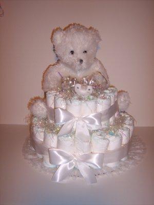 2 Tier UNISEX Bear Baby Shower Diaper Cake ALL WHITE