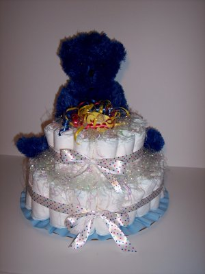 2 Tier Bear Baby Shower Diaper Cake PRIMARY COLORS