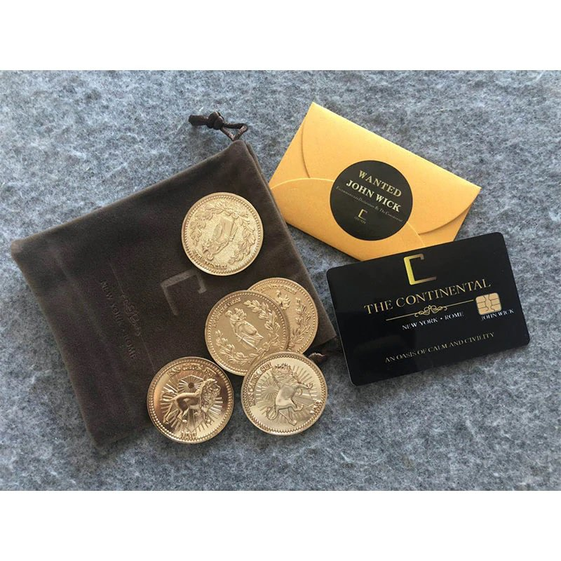 Movie John Wick 2 Underworld Gold Coins & Continental Hotel Card Cosplay Prop Accessories