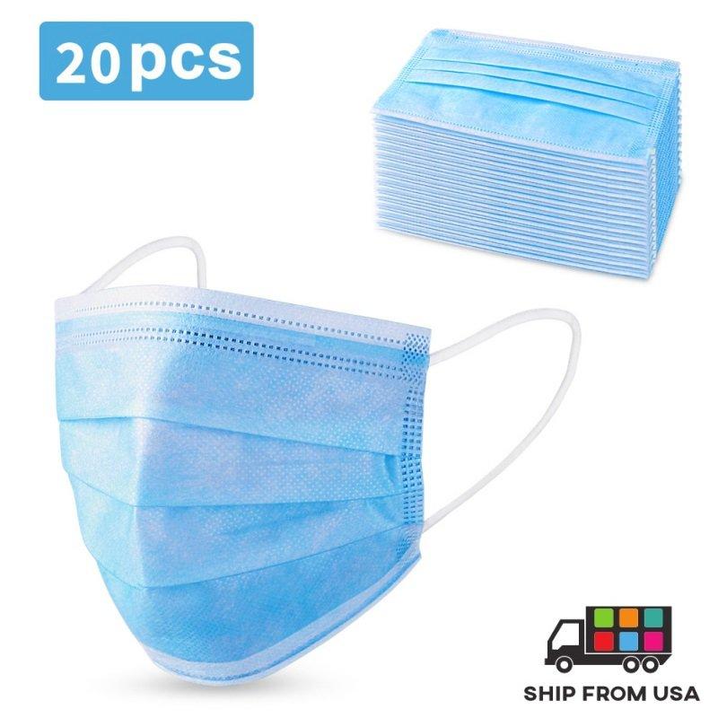 20X Melt Blown Cloth Disposable Face Mask Non Woven Fabric Cover ** SHIP FROM USA **