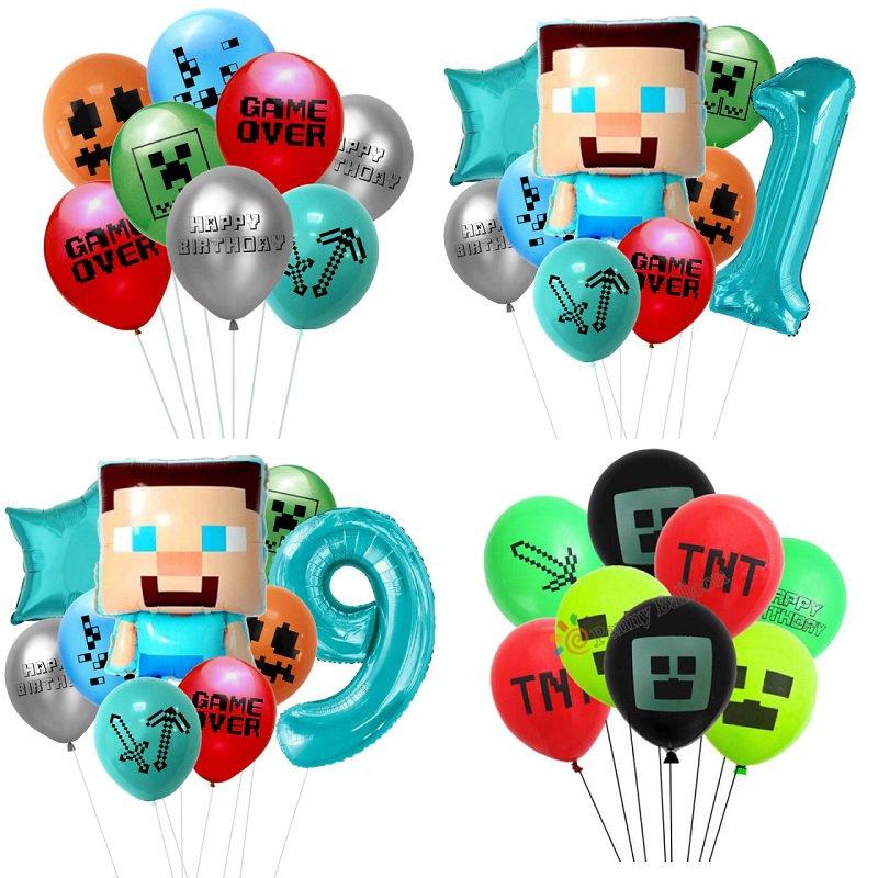 Minecraft TNT Mining Balloon Children's Video Pixel Game Birthday Party Decoration Supplies