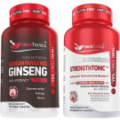 Herbtonics Korean Panax Red Ginseng and Strengthtonic Testosterone Booster for Men Bundle