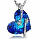 Crystal Blue Star Rhinestone Heart Necklace