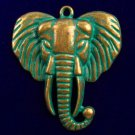 1pcs Carved Brass Bronze Elephant Head Pendant Bead