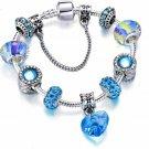Silver Plated Beaded Blue Crystal Charm Heart Dangle Bracelet Gift for Love