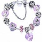 Silver Plated Beaded Purple Crystal Charm Heart Dangle Bracelet 18-21cm
