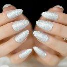 Holographic Bling Stiletto Press on Glitter White Nails